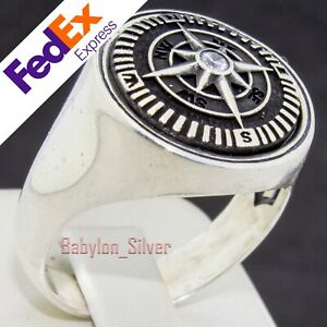Compass 925 Sterling Silver Clear CZ Turkish Handmade Men's Luxury Ring All Size