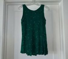ANN TAYLOR LOFT~Green VINES Pleated TUNIC Shell TOP~XS