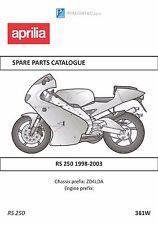 Aprilia parts manual book 1998, 1999, 2000, 2001, 2002 & 2003 RS 250