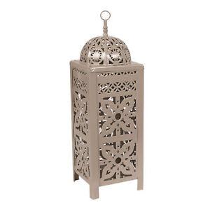 16996 Flower Design Taupe Tea Light Lantern by Straits - Retail Price: £9.99