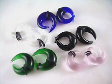 Clear Crossover Glass Ear Plugs Taper Expander Gauges Tribal Claw  8mm 0g ML16