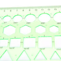 Multi-shape Geometric and Circle Template Ruler CLreen Usul for Students TP
