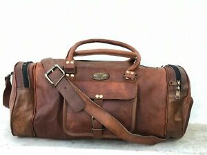 "Leather Round Classic Vintage Duffle Weekend Overnight Traveling Bag 30"" Unisex"
