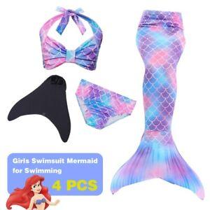 Kids Mädchen Swimmable Kostüm Meerjungfrau-Schwanz zum Schwimmen Monoflosse DHL