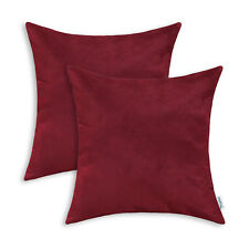 2pcs Square Pillows Cushion Covers Shell Heavy Faux Suede 50cmx50cm Burgundy