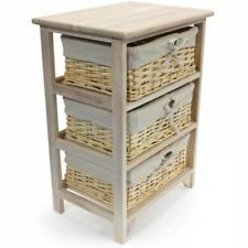 3 Tier Drawers Wooden Storage Cabinet Rack Wicker Baskets Unit Derby Pick up