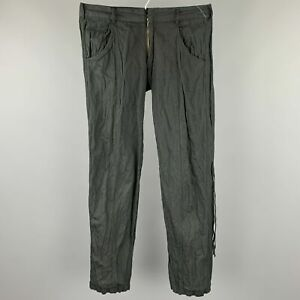 CoSTUME NATIONAL Size US 32 / IT 48 Black Wrinkled Cotton / Metal Casual Pants
