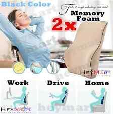 2x Black Memory Foam Lumbar Back Support Cushion Pillow Home Car Office Chair
