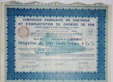 Compagnie française de controle et d'exploitation de chemins de fer 1933