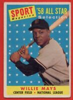 1958 Topps #486 Willie Mays VG-VGEX CREASED San Francisco Giants FREE S/H