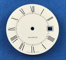 Unbranded White Watch Dial Part -Latin Numbers- 30.5mm -Swiss Made- Quartz  #754