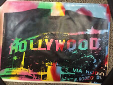 STEVE KAUFMAN Signed original Painted UNIQUE SILKSCREEN on CANVAS HOLLYWOOD SIGN