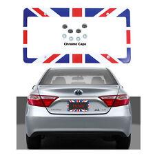 New United Kingdom Flag Car Truck License Plate Frame & Chrome Screw Caps Set