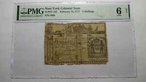 1771 Five Shillings New York NY Colonial Currency Bank Note Bill G6 PMG 5s