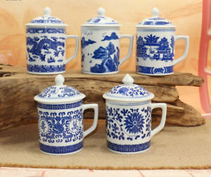 NEW Chinese Ceramic Blue and white Porcelain Tea Cup Mug with lid handmade 400ml