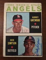 DICK SIMPSON 1964 TOPPS ROOKIE RC AUTOGRAPHED SIGNED AUTO BASEBALL CARD 127 ANGE