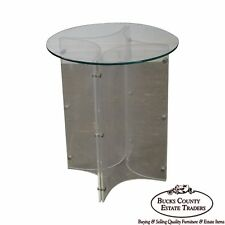 Mid Century Modern Lucite Base Round Glass Top Table