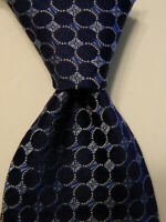 346 BROOKS BROTHERS Men's 100% Silk Necktie Designer Geometric Blue/Gray EUC