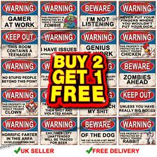 Funny Metal Signs Warning Beware Danger Metal Tin Sign Wall Plaques Joke Rude UK