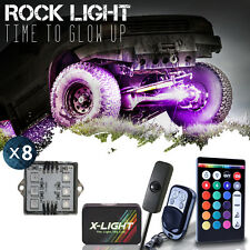 8PCS RGB LED Multi-Color Offroad Rock Lights pod with Music Flashing Brake Mode