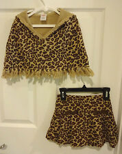 Gymboree Teachers Pet Girl 3 4 Cheetah Leopard Poncho Top Skirt Skort Outfit Set
