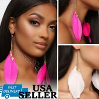 6 Inch Feather Tassel Earrings Silver Chain Pink Black White Wing Dangle Drop