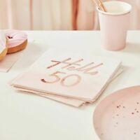 50th birthday Napkins Pink Ombre Rose Gold Blush Party Decorations Milestone