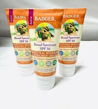 3x Badger Active Kids Natural Mineral Sunscreen Cream SPF 30 ~ 2.9 oz Ea~ Sealed