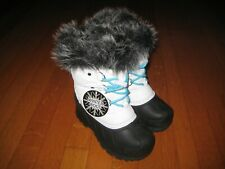 New Girl's White Fur Trim Winter Snow Boots Size 11 Nwt