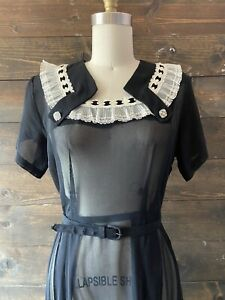 Vintage 30's 40's net day dress art deco black midi dress