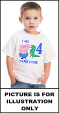 George Pig with Dinosaur Birthday Age White T Shirt [Ages 1 to 6]