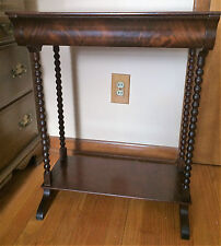 Antique Flame Mahogany Spool Turned One Drawer Stand Washstand Table 1800's