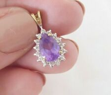 drop amethyst pendant, 9k 375 9ct gold diamond & pear