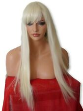Light Blonde Fashion long straight costume Ladies Women Real Natural Full Wig N5