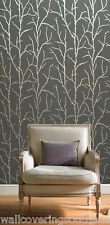 Grey & Silver With Glitter, Pussy Willow Design, Suede Effect / Feel  Wallpaper