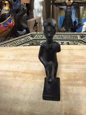 Vintage Egyptian God Min Statue Hand Carved 1983 Made in Egypt