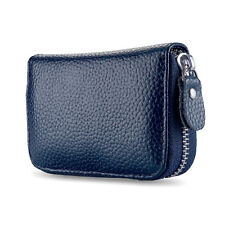 Navy Blue Solid Leather Accordion Wallet Zip Around ID Credit Card Case Holder