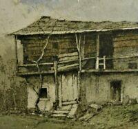Josef EIDENBERGER,1899-1991 Alpen-Farbradierung: BERGHOF MIT HÜHNERN im ANGERTAL