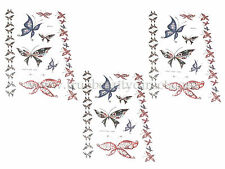 3 x SEAVIEW TEMPORARY TATTOOS BUTTERFLIES BODY ART TRANSFER DECALS NEW SEE SHOP