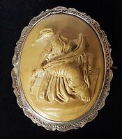 Silver & carved larva stone cameo vintage Victorian antique brooch