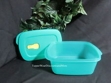 TUPPERWARE NEW Crystalwave Microwave Rectangle Rectangular 7 cup Container TEAL