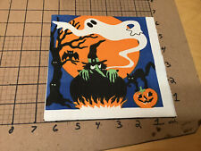 Original Vintage Napkin from collection -- HALLOWEEN green witch in pot ghost