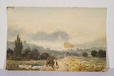 Sur la route charrette et personnage petite aquarelle XIX° non signée