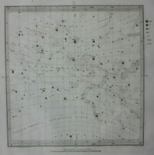 Original antique CELESTIAL MAP, VERNAL EQUINOX, STARS, CONSTELLATIONS, SDUK 1844