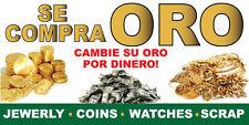 3' x 6' Se Compra ORO bandera -  20oz  Vinyl Oro Plata Dinero 3ft x 6ft banner
