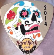 Hard Rock Cafe ORLANDO 2014 Sugar Skull on Silver GUITAR PICK PIN New in HRC Bag