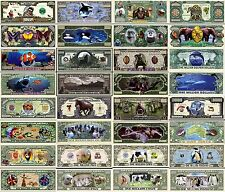 LOT 16 BILLETS de COLLECTIONS Les ANIMAUX REQUIN LOUP PANTHERE SERPENT CROCODILE