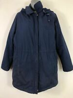 WOMENS BHS NAVY BLUE/ PURPLE ZIP UP FITTED DETACHABLE HOODED COAT UK 14