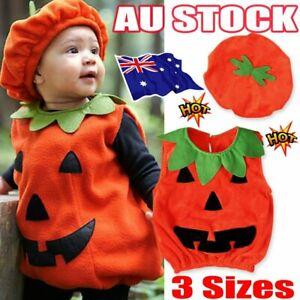 Halloween Baby Kids Boy Girl Pumpkin Fancy Dress+Hat Clothes Cosplay Costume NW