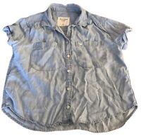Abercrombie & Fitch Women's Denim Shirt Blue XS Short Sleeve Cotton